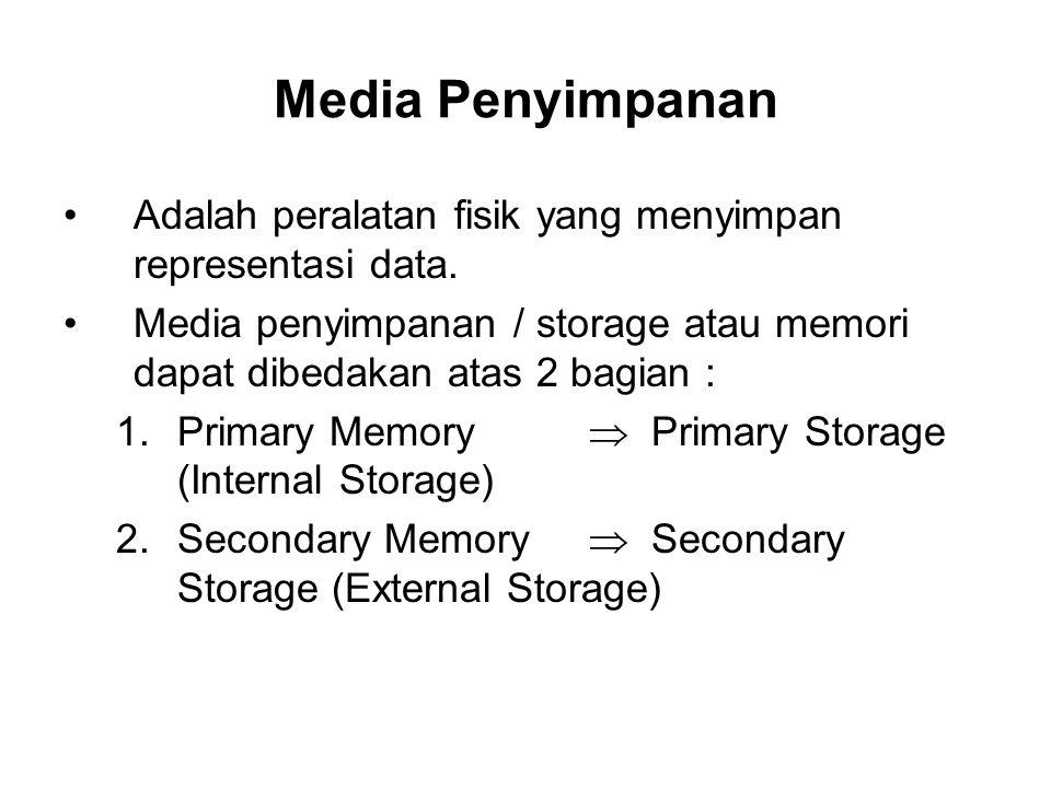 Media Penyimpanan Adalah peralatan fisik yang menyimpan representasi data. Media penyimpanan / storage atau memori dapat dibedakan atas 2 bagian :