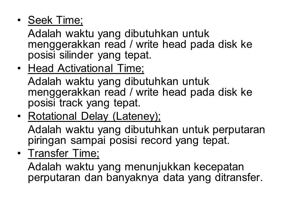 Seek Time; Adalah waktu yang dibutuhkan untuk menggerakkan read / write head pada disk ke posisi silinder yang tepat.