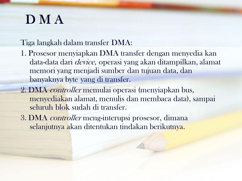 D M A Tiga langkah dalam transfer DMA: