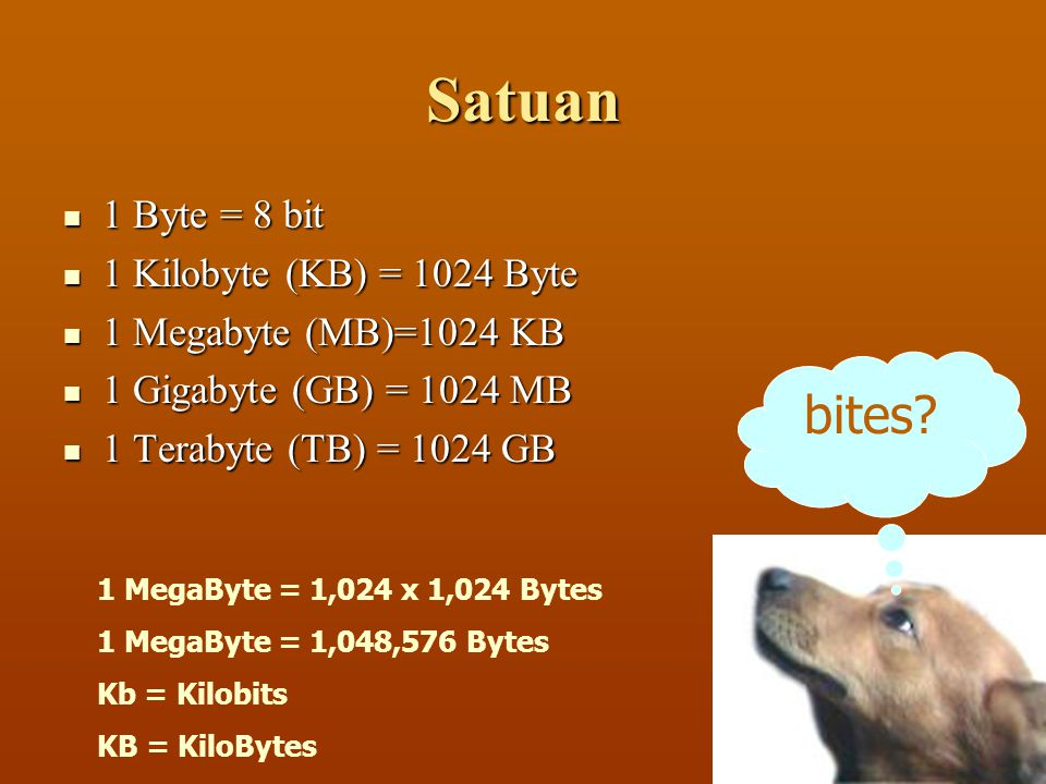 Satuan bites 1 Byte = 8 bit 1 Kilobyte (KB) = 1024 Byte