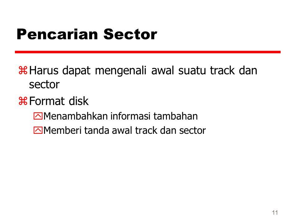 Pencarian Sector Harus dapat mengenali awal suatu track dan sector
