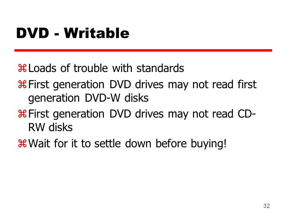 DVD - Writable Loads of trouble with standards