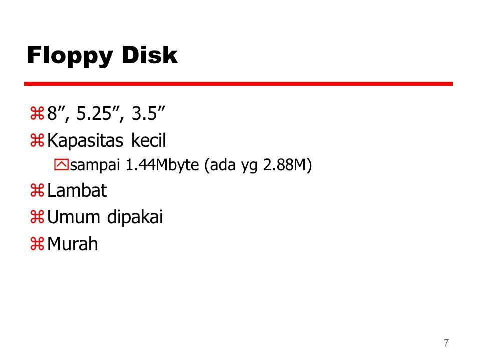 Floppy Disk 8 , 5.25 , 3.5 Kapasitas kecil Lambat Umum dipakai Murah