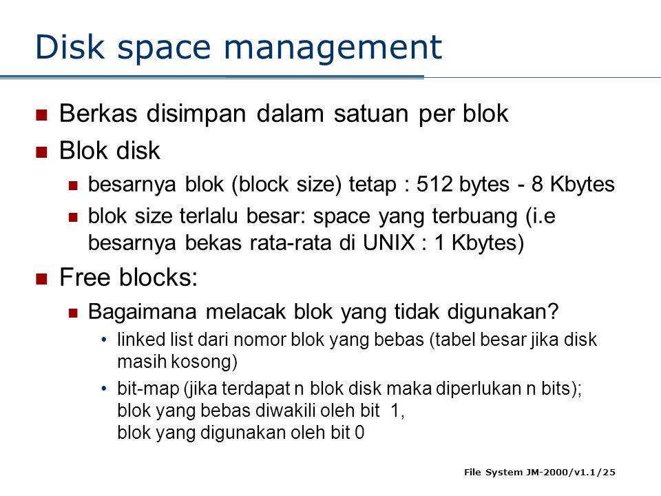 Disk space management Berkas disimpan dalam satuan per blok Blok disk