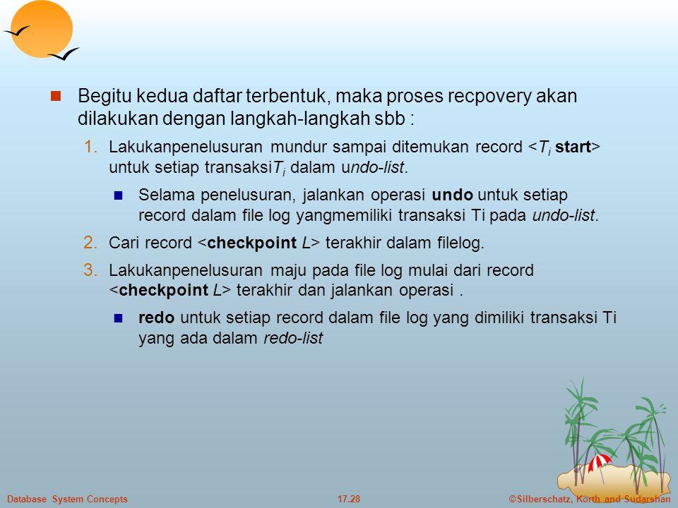 Begitu kedua daftar terbentuk, maka proses recpovery akan dilakukan dengan langkah-langkah sbb :