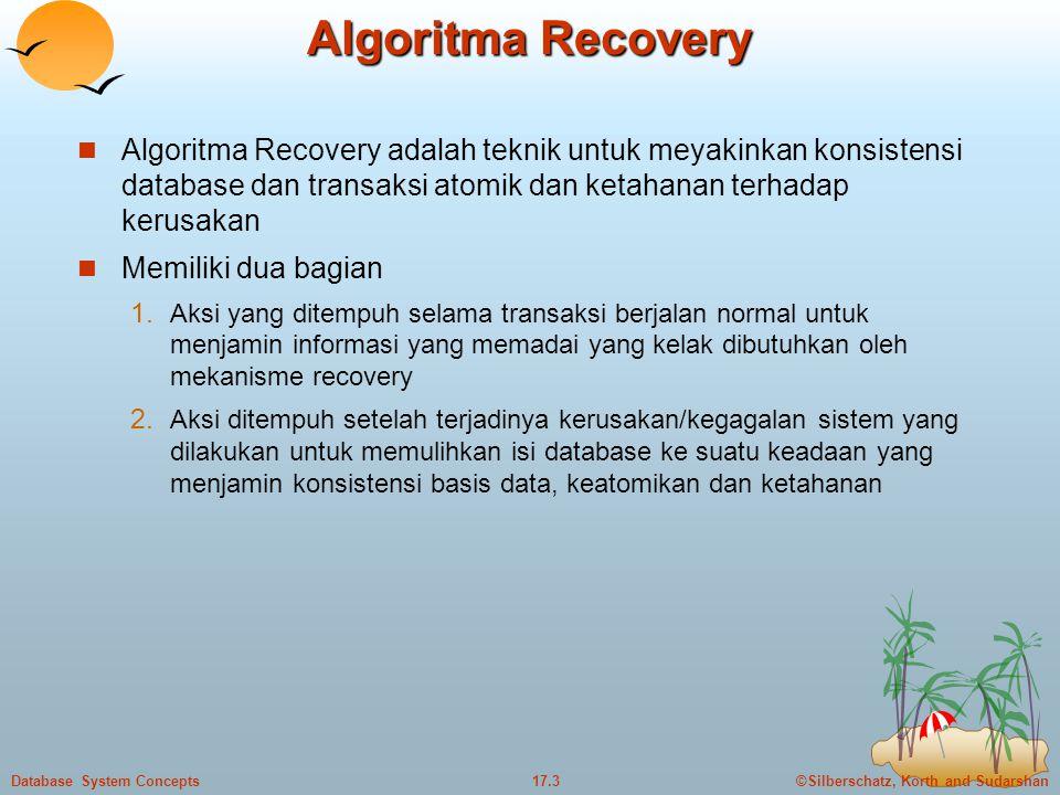 Algoritma Recovery Algoritma Recovery adalah teknik untuk meyakinkan konsistensi database dan transaksi atomik dan ketahanan terhadap kerusakan.
