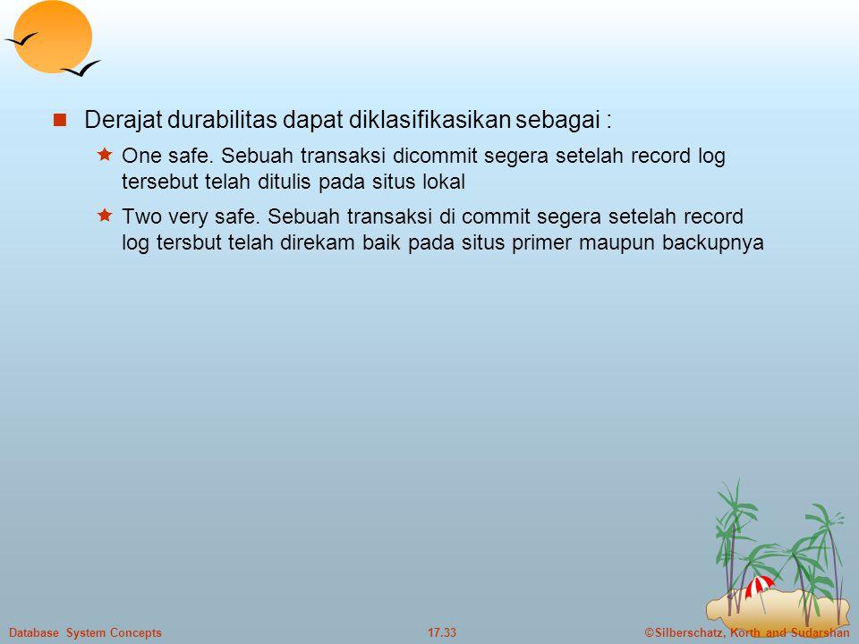 Derajat durabilitas dapat diklasifikasikan sebagai :
