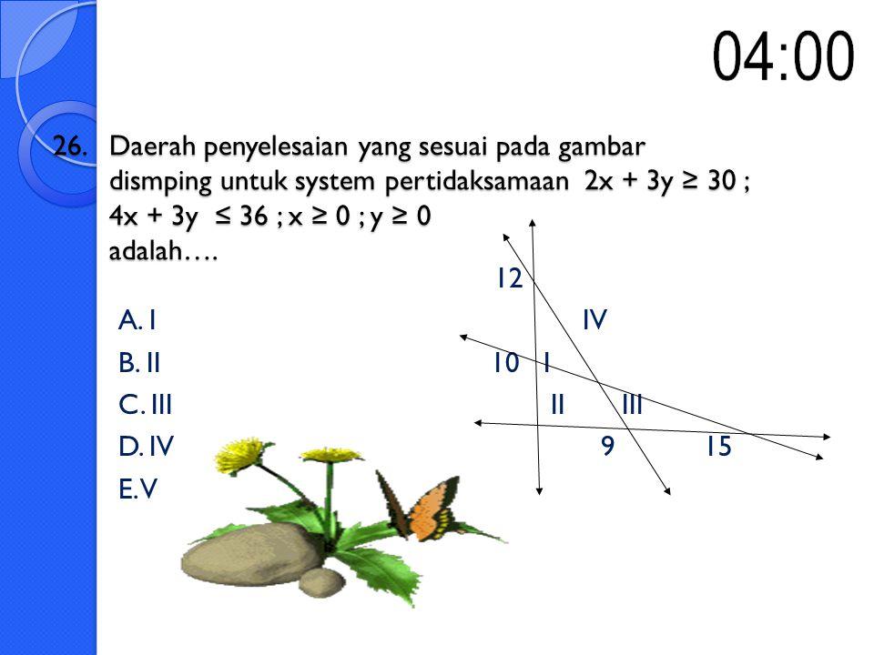 26. Daerah penyelesaian yang sesuai pada gambar dismping untuk system pertidaksamaan 2x + 3y ≥ 30 ; 4x + 3y ≤ 36 ; x ≥ 0 ; y ≥ 0 adalah….