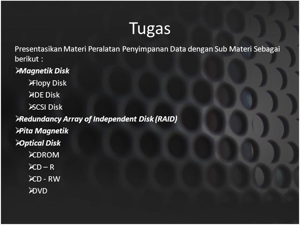 Tugas Presentasikan Materi Peralatan Penyimpanan Data dengan Sub Materi Sebagai berikut : Magnetik Disk.