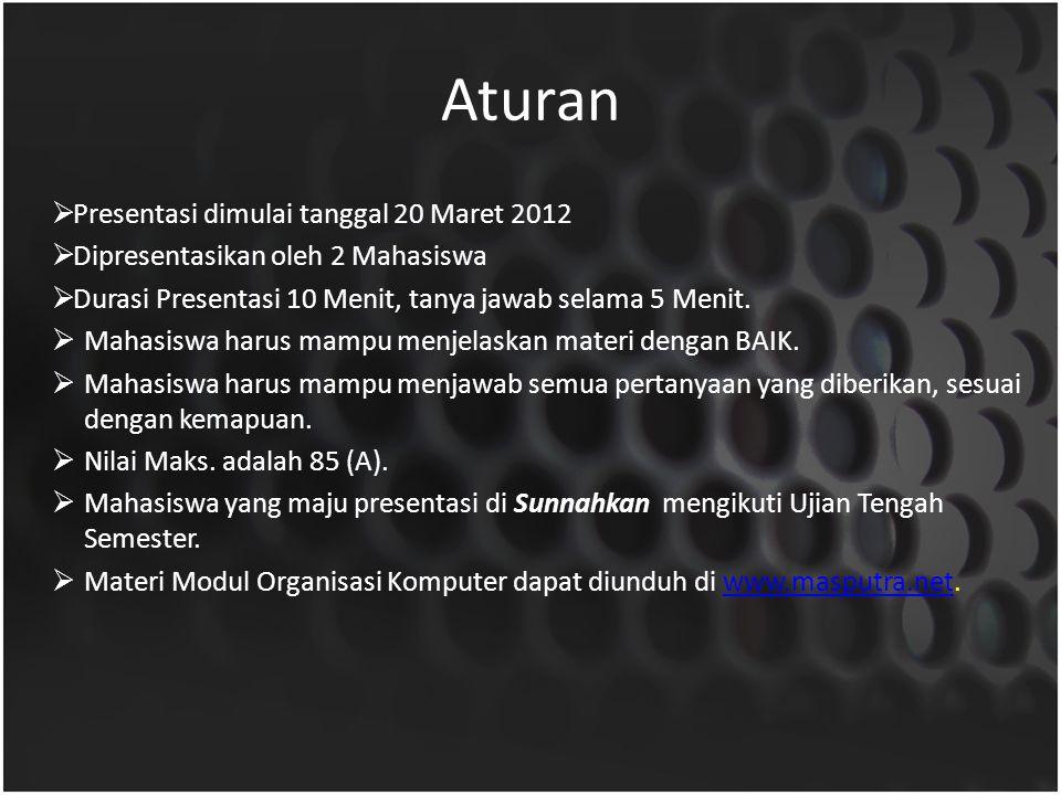 Aturan Presentasi dimulai tanggal 20 Maret 2012