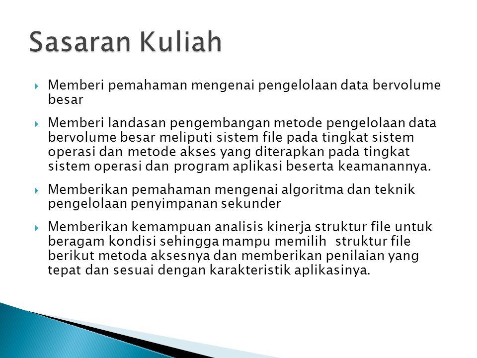 Sasaran Kuliah Memberi pemahaman mengenai pengelolaan data bervolume besar.