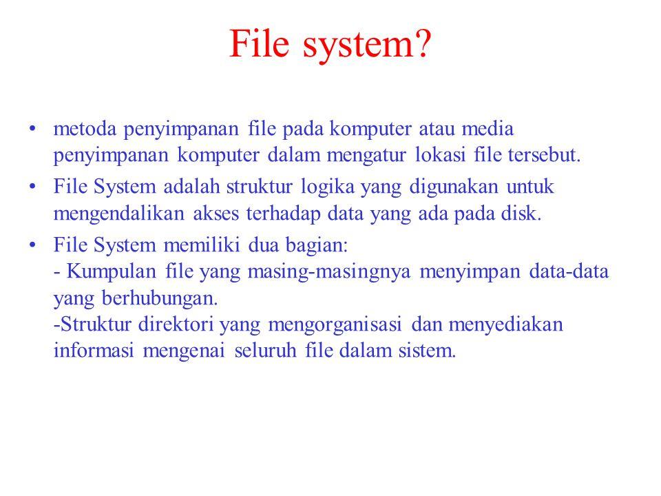 File system metoda penyimpanan file pada komputer atau media penyimpanan komputer dalam mengatur lokasi file tersebut.