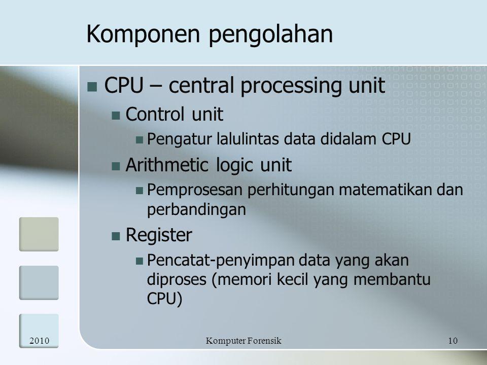 Komponen pengolahan CPU – central processing unit Control unit