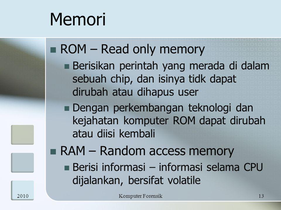 Memori ROM – Read only memory RAM – Random access memory
