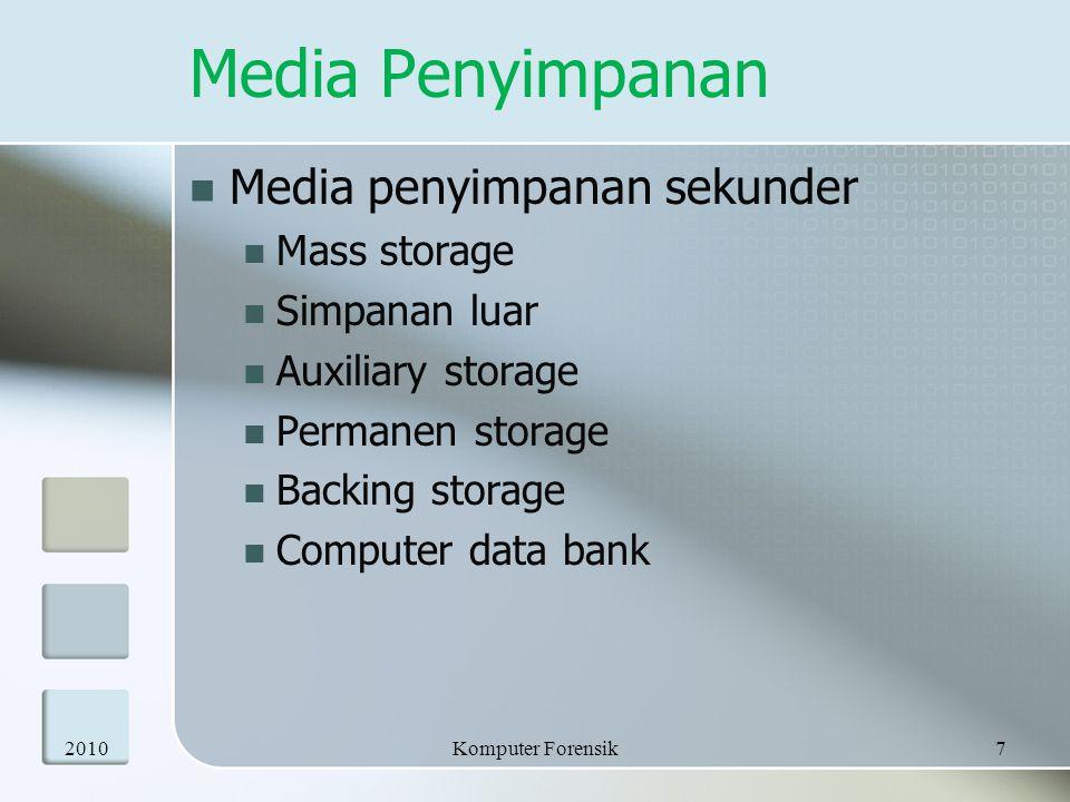 Media Penyimpanan Media penyimpanan sekunder Mass storage