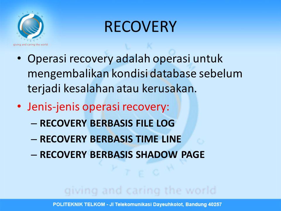 RECOVERY Operasi recovery adalah operasi untuk mengembalikan kondisi database sebelum terjadi kesalahan atau kerusakan.