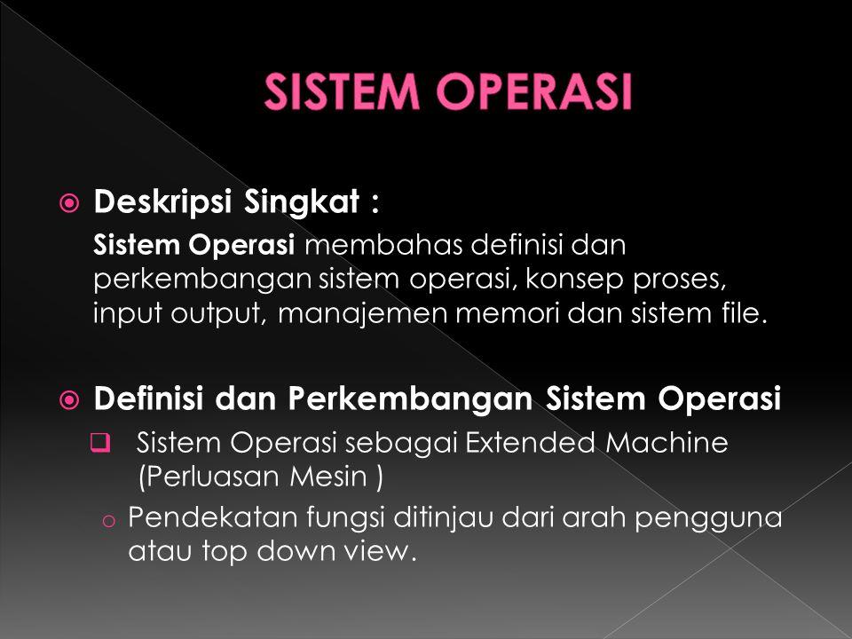 SISTEM OPERASI Deskripsi Singkat :