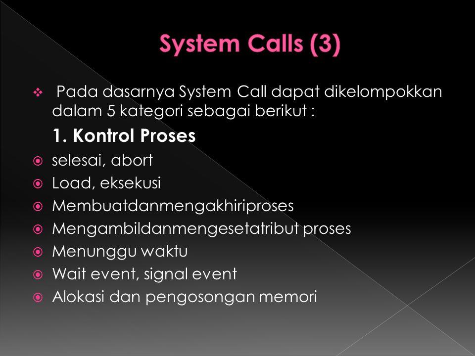 System Calls (3) 1. Kontrol Proses