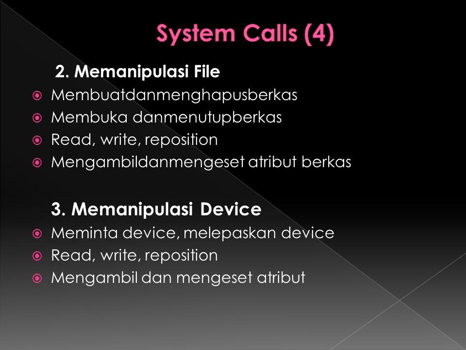 System Calls (4) 2. Memanipulasi File Membuatdanmenghapusberkas