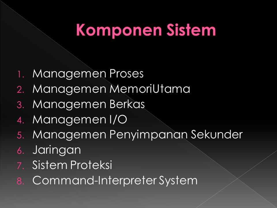 Komponen Sistem Managemen Proses Managemen MemoriUtama