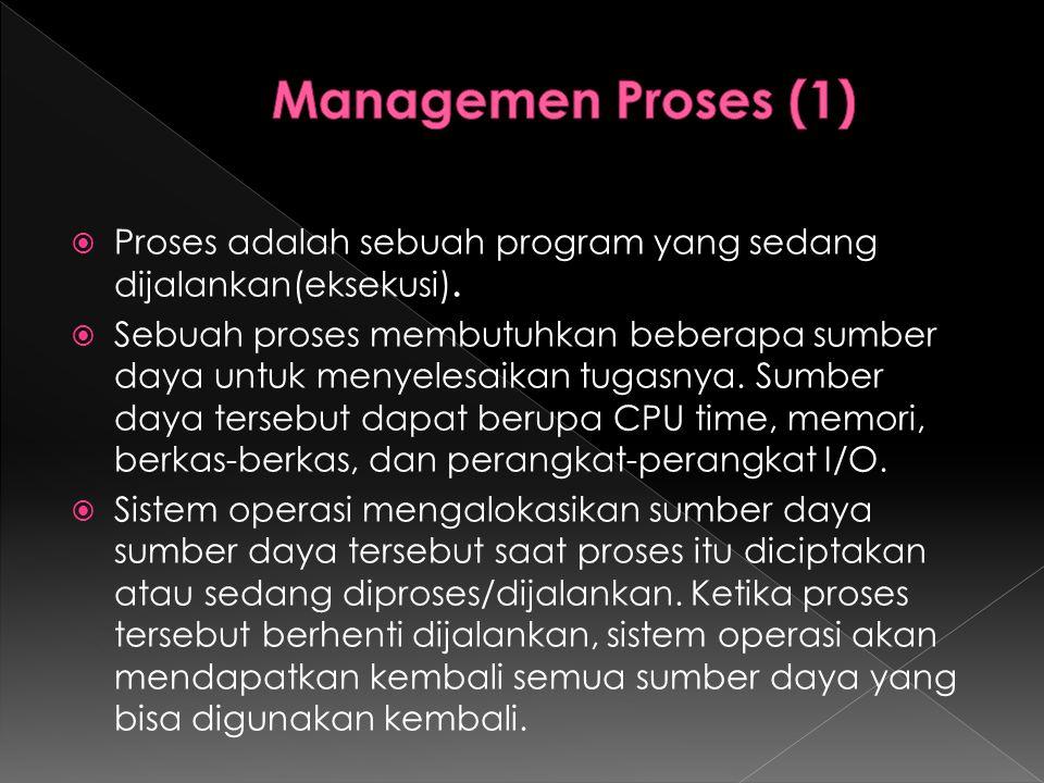 Managemen Proses (1) Proses adalah sebuah program yang sedang dijalankan(eksekusi).