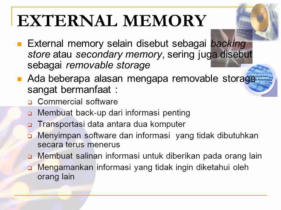 EXTERNAL MEMORY External memory selain disebut sebagai backing store atau secondary memory, sering juga disebut sebagai removable storage.
