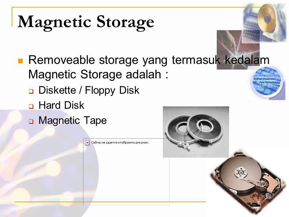 Magnetic Storage Removeable storage yang termasuk kedalam Magnetic Storage adalah : Diskette / Floppy Disk.