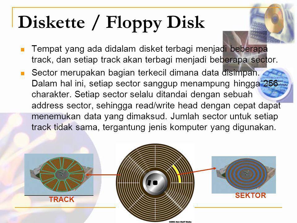 Diskette / Floppy Disk Tempat yang ada didalam disket terbagi menjadi beberapa track, dan setiap track akan terbagi menjadi beberapa sector.