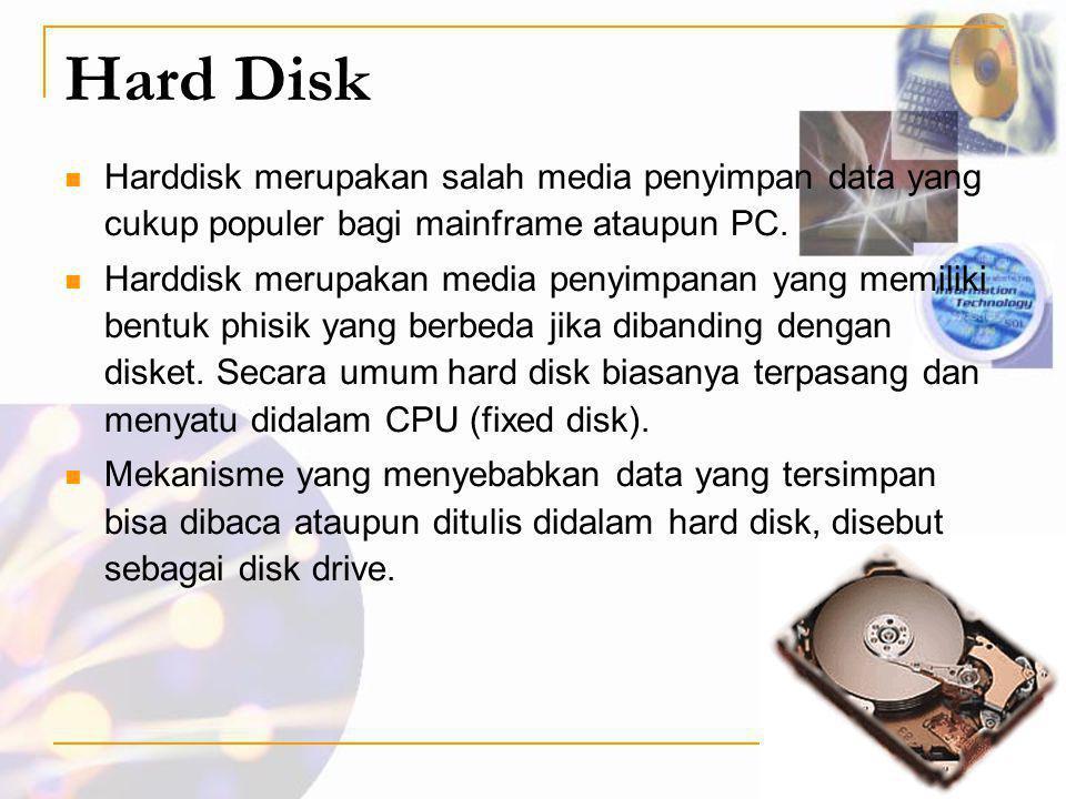 Hard Disk Harddisk merupakan salah media penyimpan data yang cukup populer bagi mainframe ataupun PC.