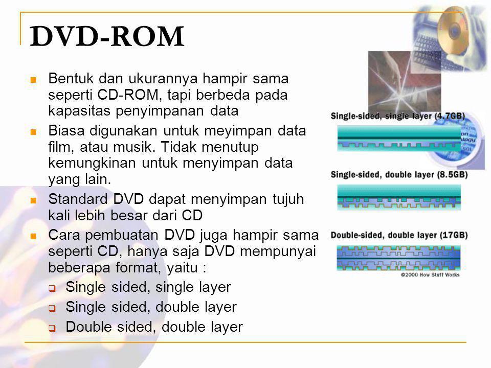 DVD-ROM Bentuk dan ukurannya hampir sama seperti CD-ROM, tapi berbeda pada kapasitas penyimpanan data.