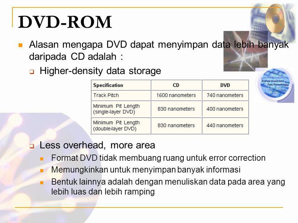 DVD-ROM Alasan mengapa DVD dapat menyimpan data lebih banyak daripada CD adalah : Higher-density data storage.