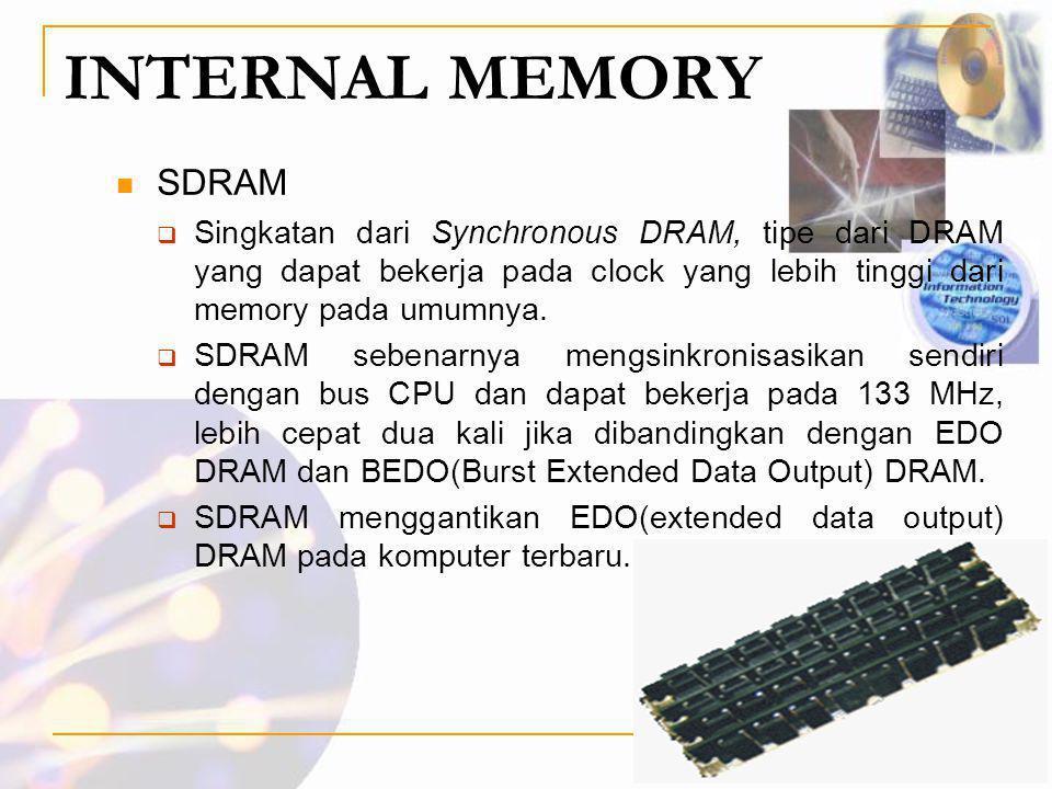 INTERNAL MEMORY SDRAM. Singkatan dari Synchronous DRAM, tipe dari DRAM yang dapat bekerja pada clock yang lebih tinggi dari memory pada umumnya.