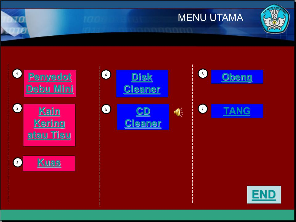 END MENU UTAMA Penyedot Debu Mini Disk Cleaner Obeng