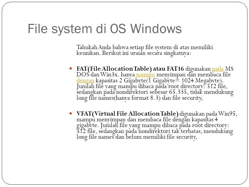 File system di OS Windows