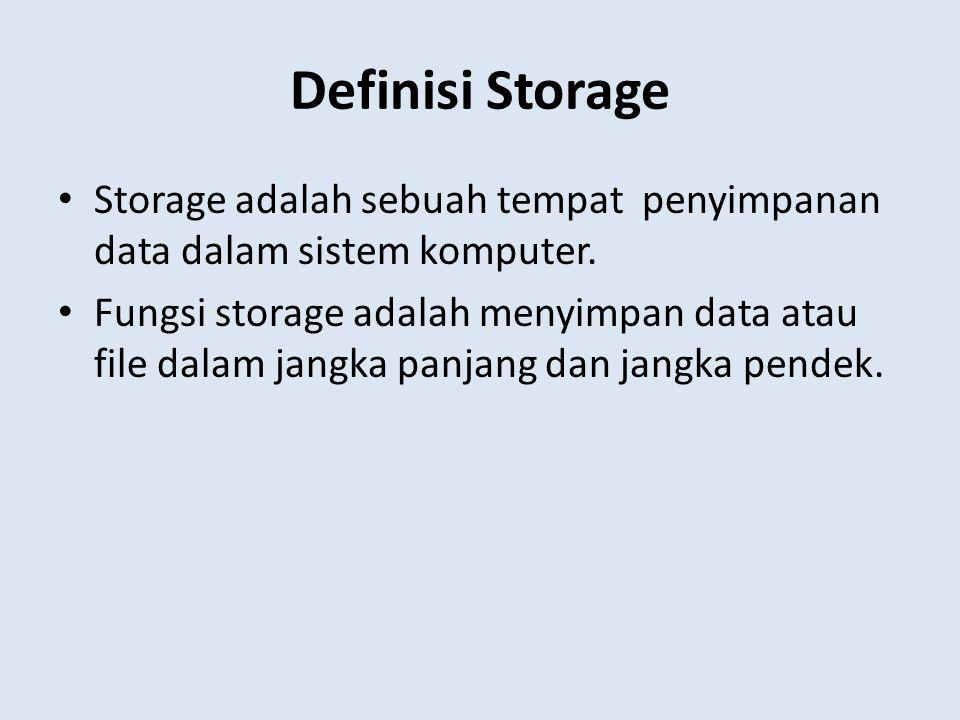 Definisi Storage Storage adalah sebuah tempat penyimpanan data dalam sistem komputer.