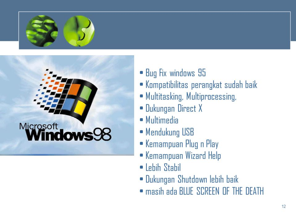 Bug Fix windows 95 Kompatibilitas perangkat sudah baik. Multitasking, Multiprocessing, Dukungan Direct X.
