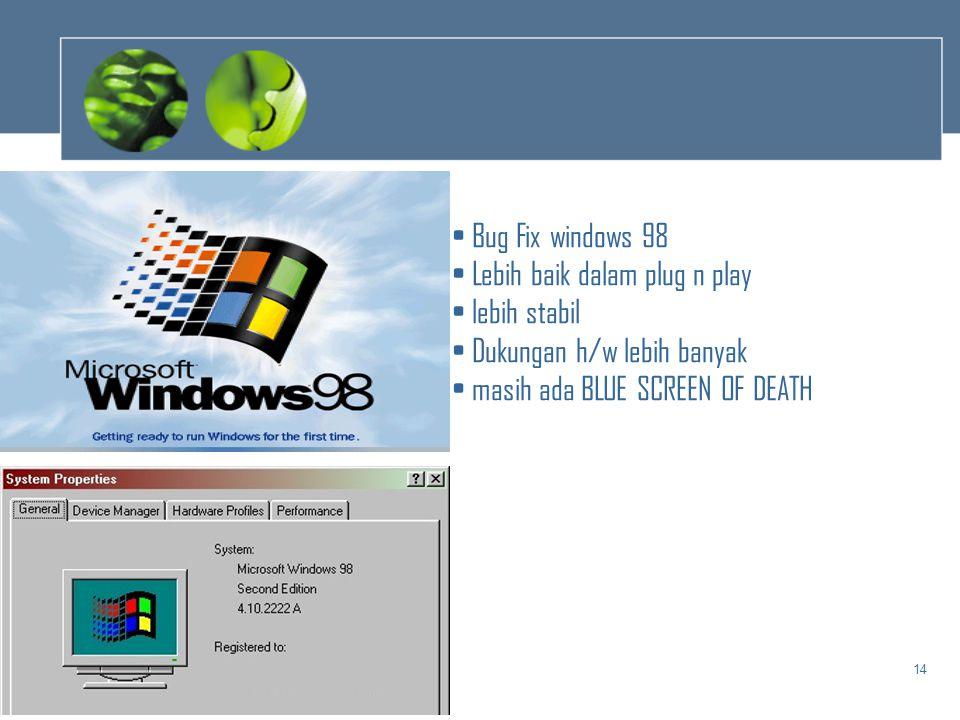 Bug Fix windows 98 Lebih baik dalam plug n play. lebih stabil.