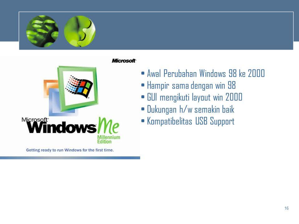 Awal Perubahan Windows 98 ke 2000