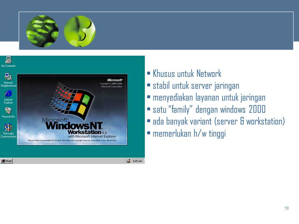 Khusus untuk Network stabil untuk server jaringan. menyediakan layanan untuk jaringan. satu family dengan windows 2000.