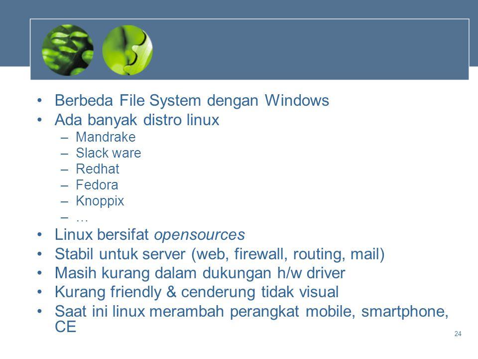 Berbeda File System dengan Windows Ada banyak distro linux