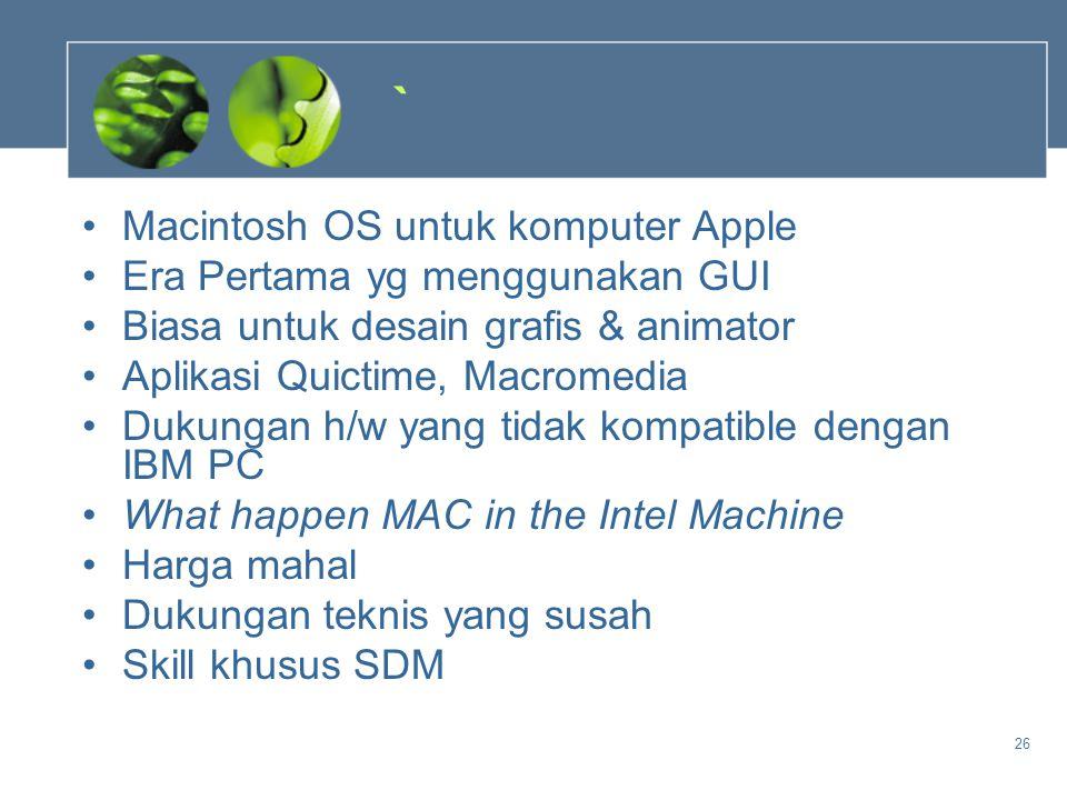 ` Macintosh OS untuk komputer Apple Era Pertama yg menggunakan GUI