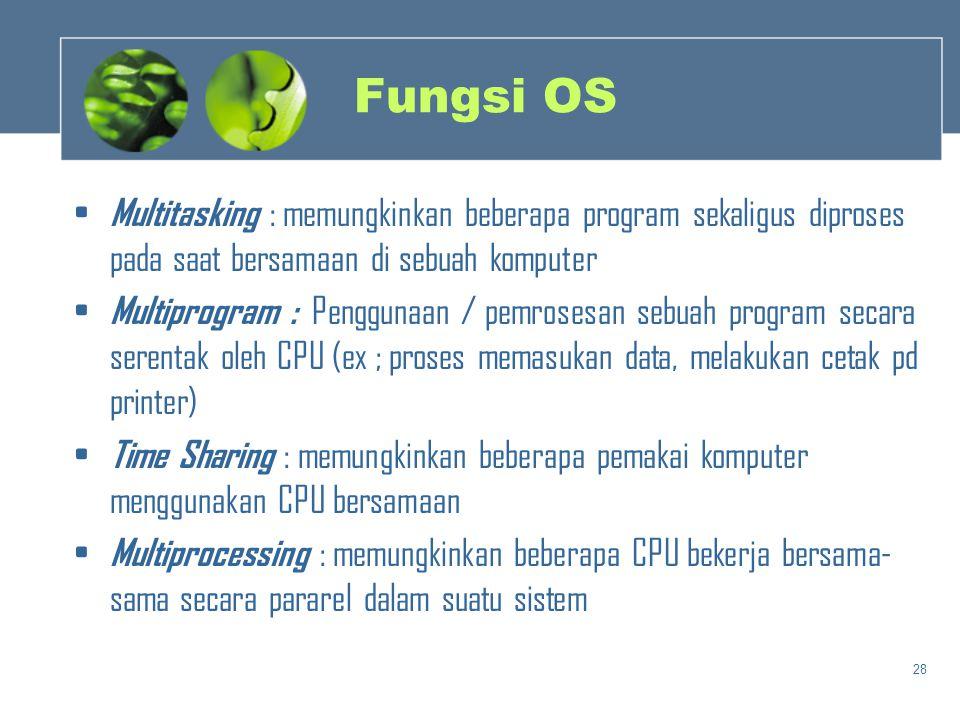 Fungsi OS Multitasking : memungkinkan beberapa program sekaligus diproses pada saat bersamaan di sebuah komputer.