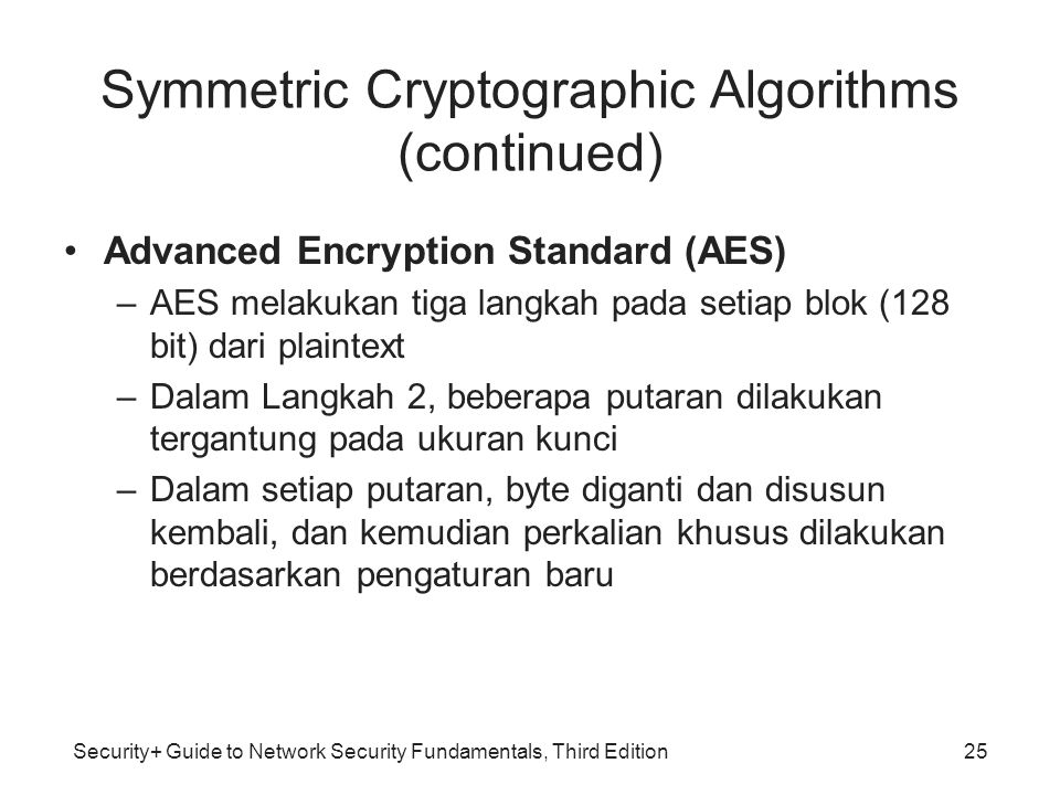 Symmetric Cryptographic Algorithms (continued)