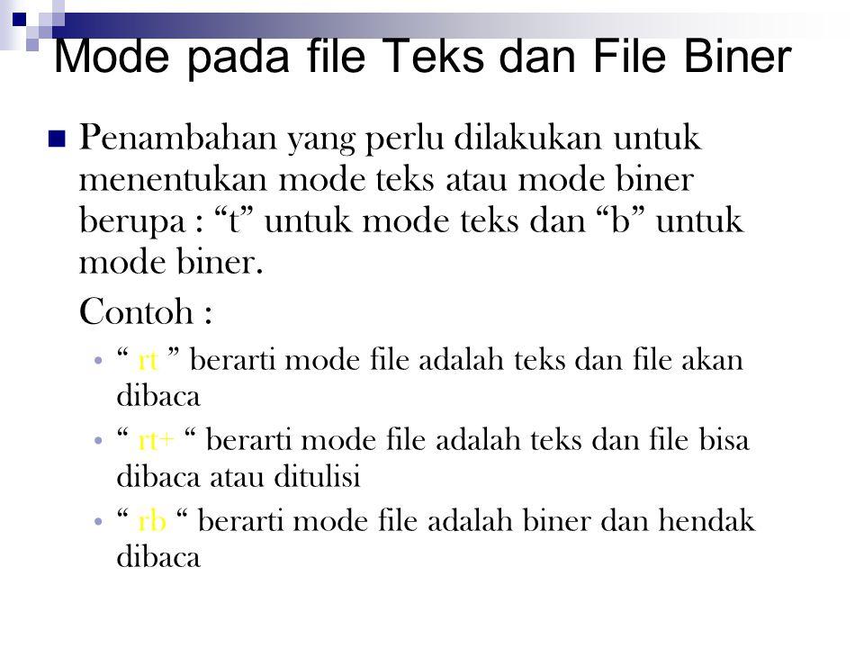Mode pada file Teks dan File Biner