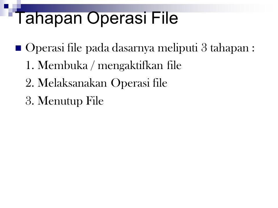 Tahapan Operasi File Operasi file pada dasarnya meliputi 3 tahapan :