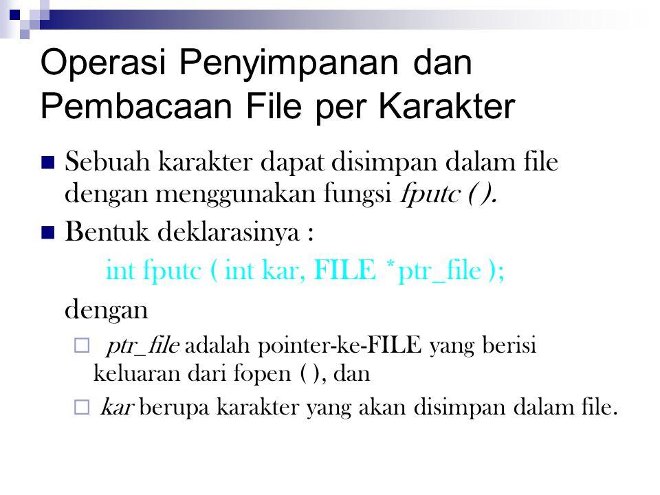 Operasi Penyimpanan dan Pembacaan File per Karakter