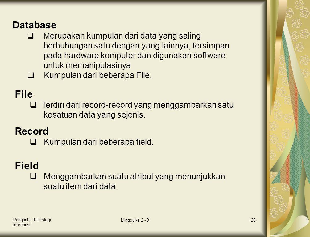 Database File Record Field Kumpulan dari beberapa File.