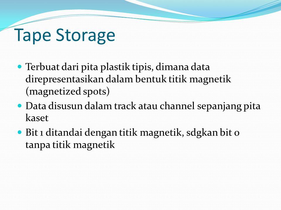Tape Storage Terbuat dari pita plastik tipis, dimana data direpresentasikan dalam bentuk titik magnetik (magnetized spots)