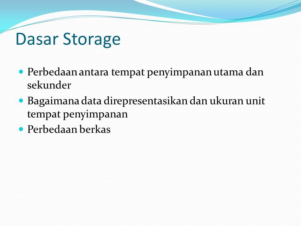 Dasar Storage Perbedaan antara tempat penyimpanan utama dan sekunder