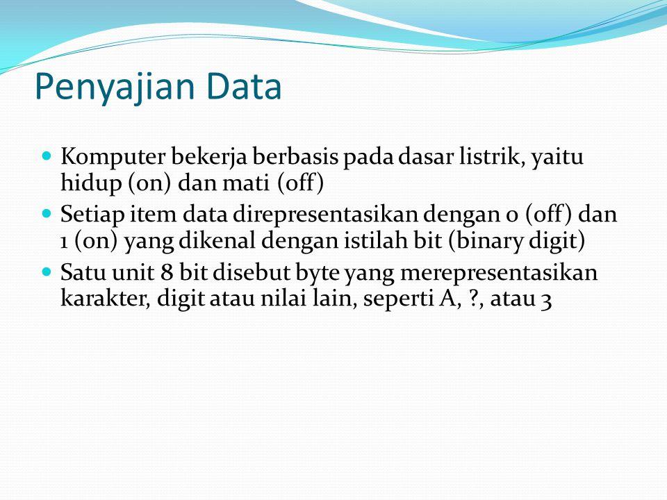 Penyajian Data Komputer bekerja berbasis pada dasar listrik, yaitu hidup (on) dan mati (off)